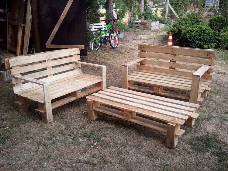 Pallet Garden Benches and Coffee Table