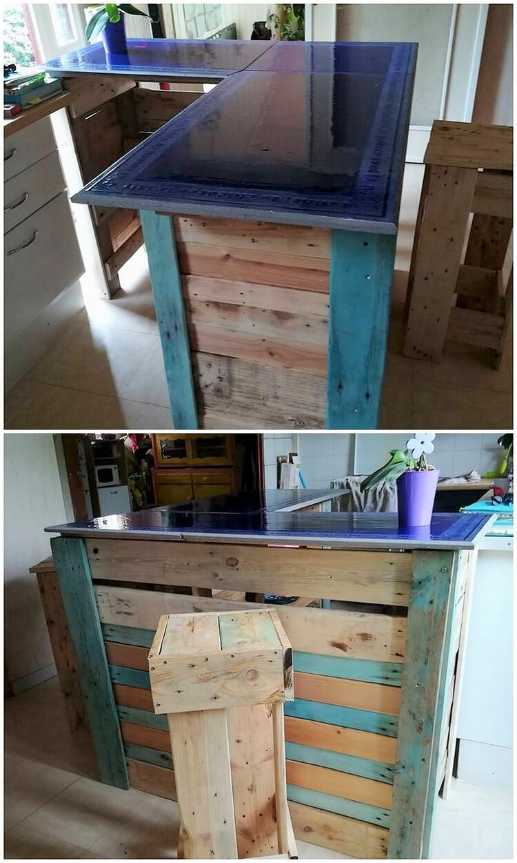 Creative ideas and ways to reuse old shipping pallets for Pallet kitchen bench