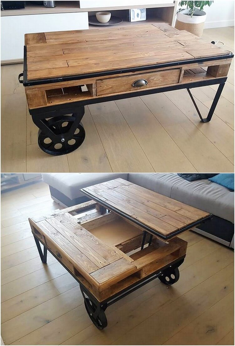 Pallet Lift Up Top Coffee Table on Wheels (2)