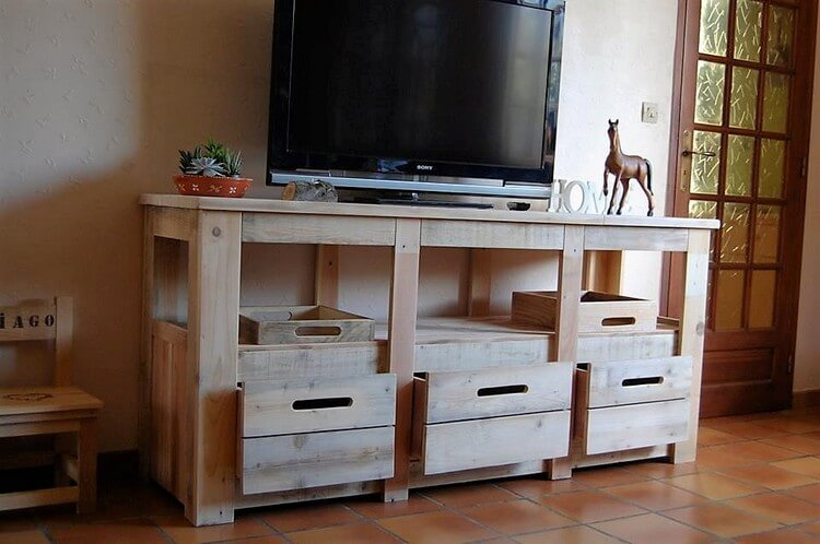 Pallet Media Cabinet with Drawers
