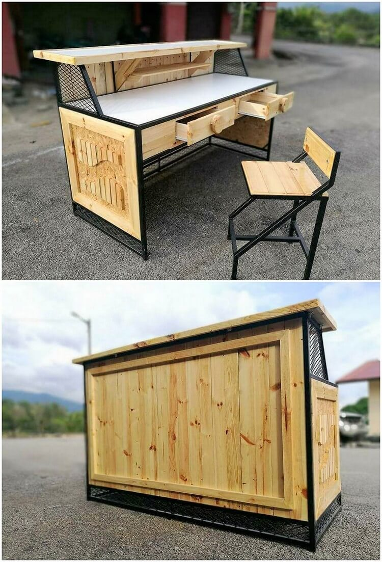 Pallet Office Table and Chair
