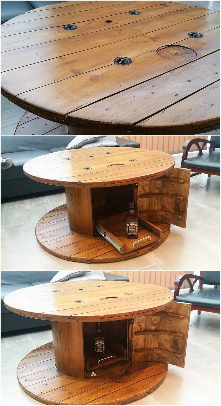 Pallet Round Table with Wine Storage