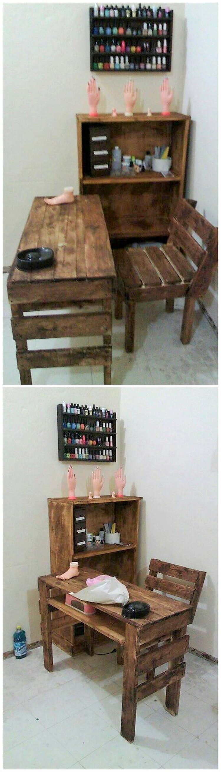 Pallet Study Table, Chair and Cupboard