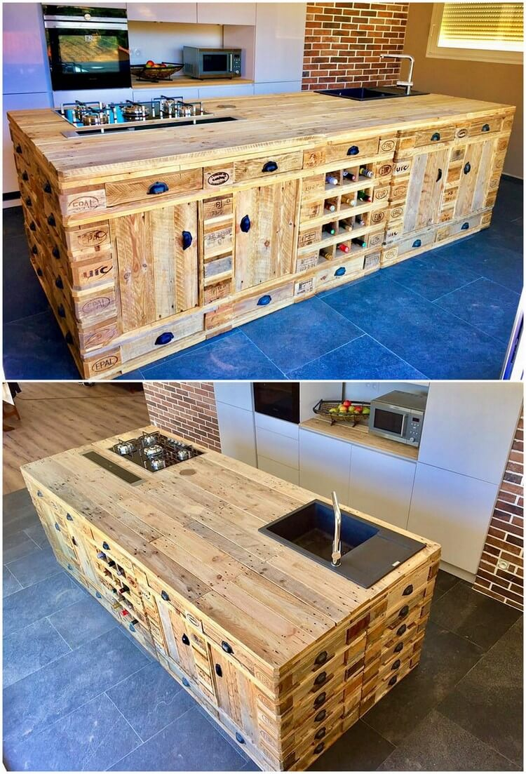 Recycled wood pallets made kitchen island pallet wood for Reclaimed pallet wood projects