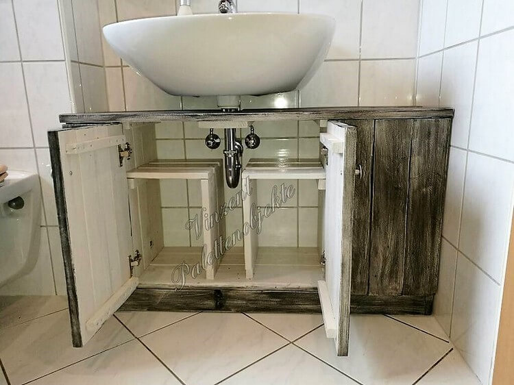 Wood Pallet Toilet Sink with Storage