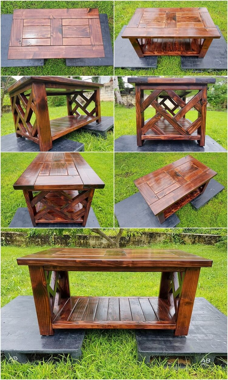 Wood pallets made coffee table pallet wood projects for Coffee table made out of pallet wood