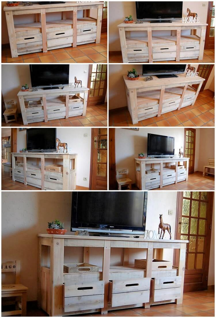 Wood Pallets Media Cabinet TV Stand