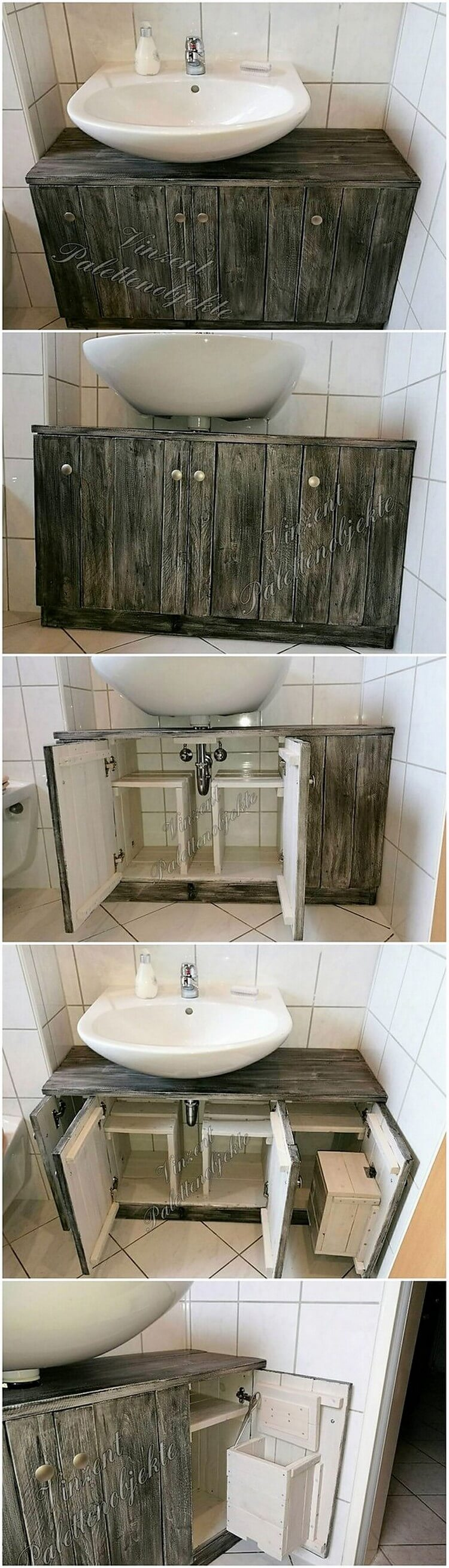 Wood Pallets Toilet Sink with Storage Space