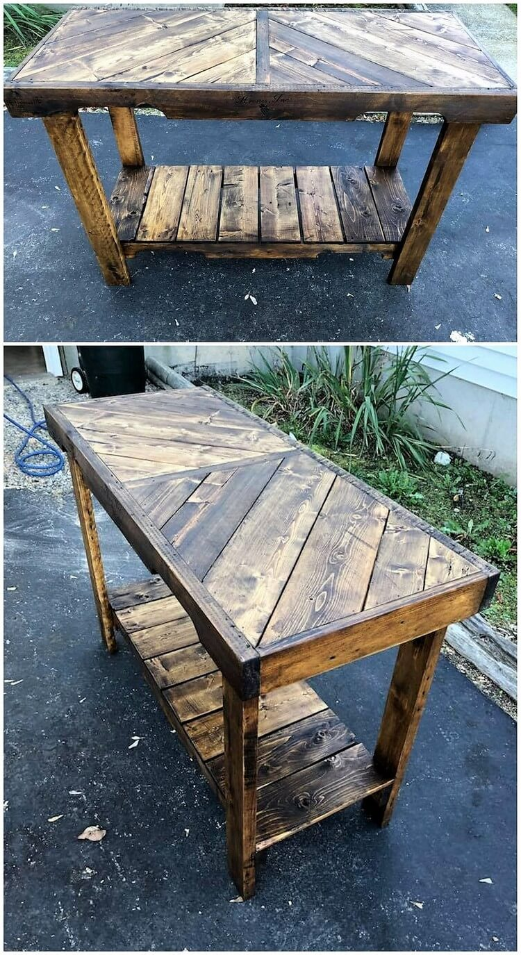 Chevron Pallet Console Table