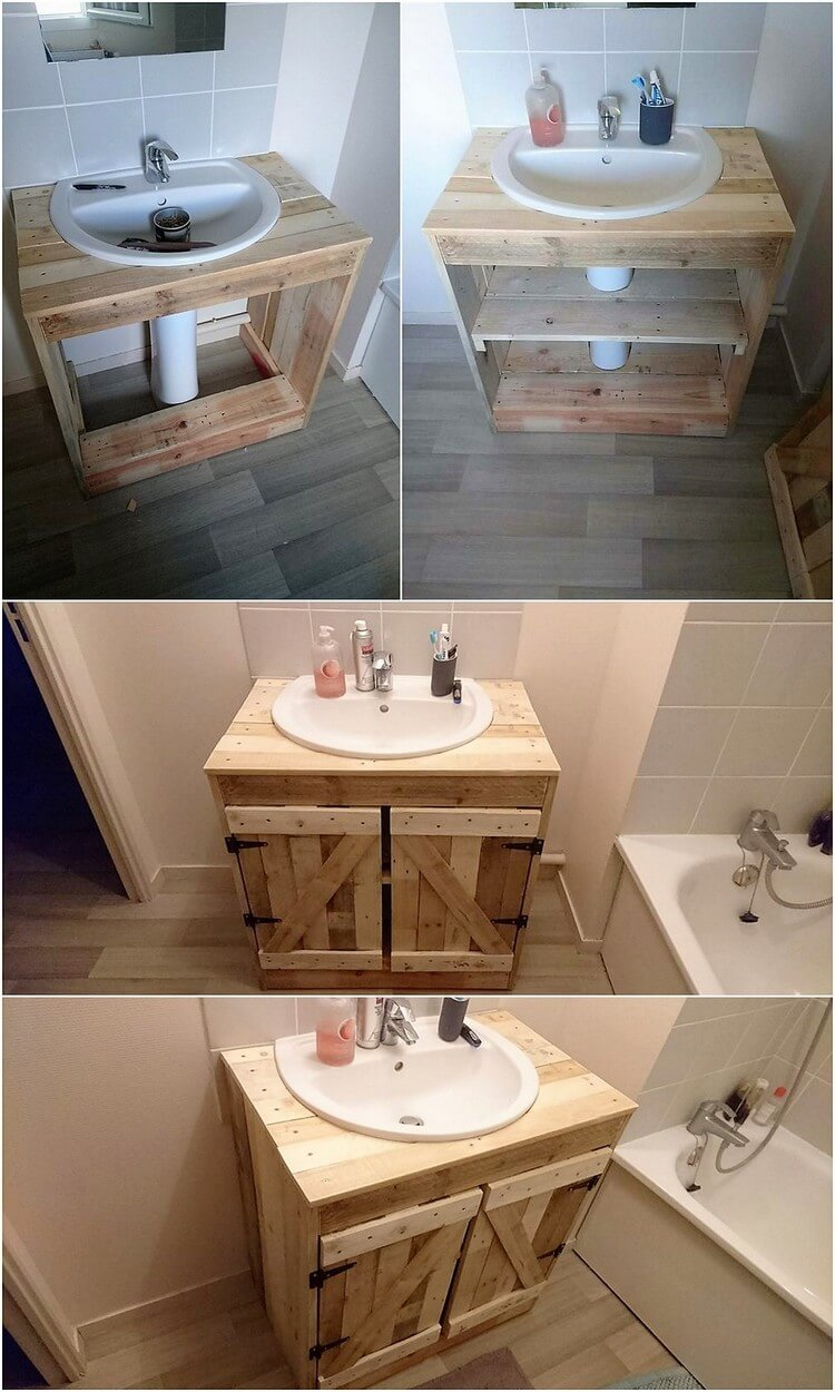 DIY Pallet Sink with Cabinet