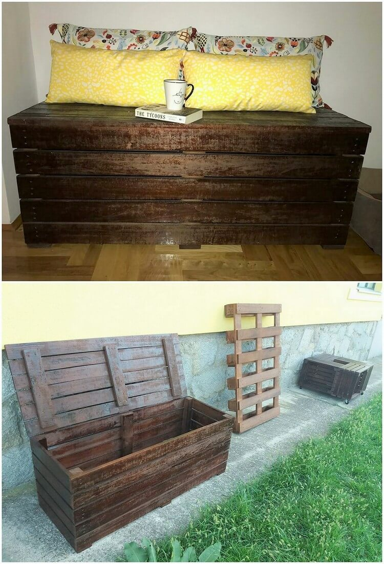 Pallet Bench and Storage Box