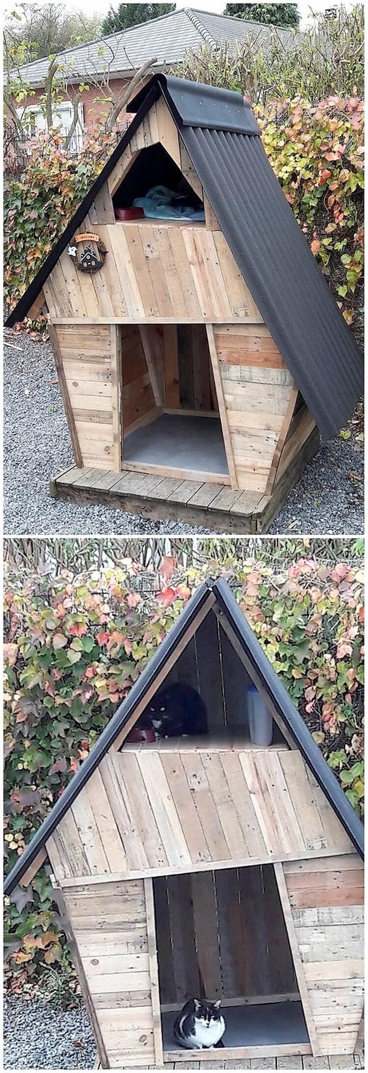 Pallet Cat House (2)