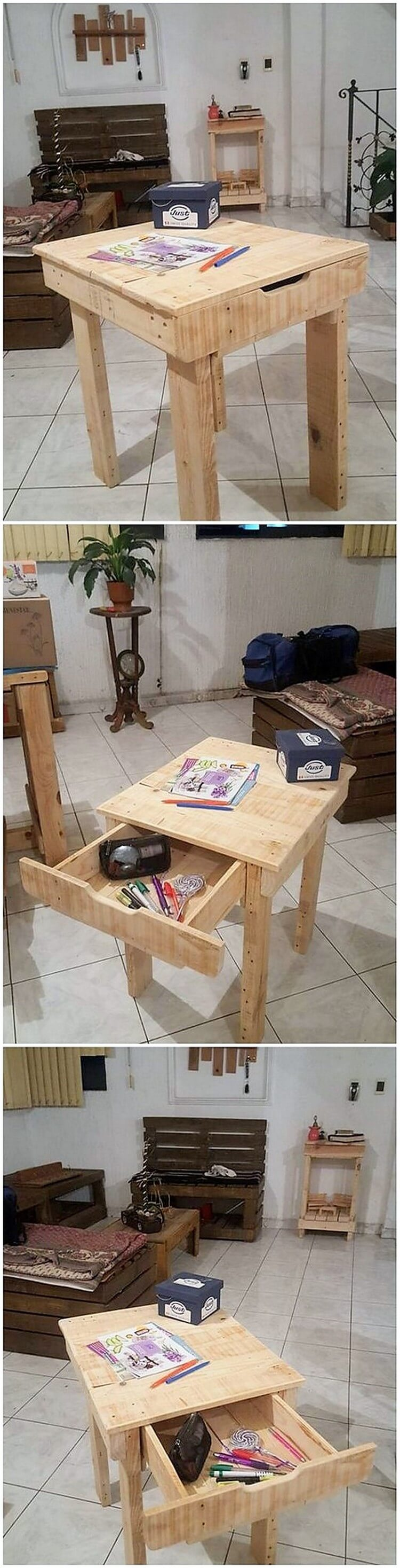 Pallet End Table with Drawer (2)