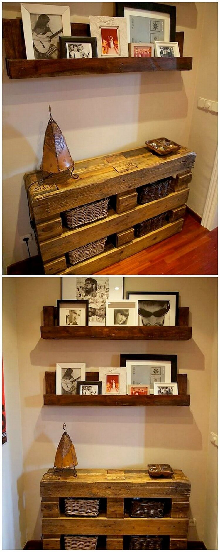 Pallet Entryway Table and Wall Shelf