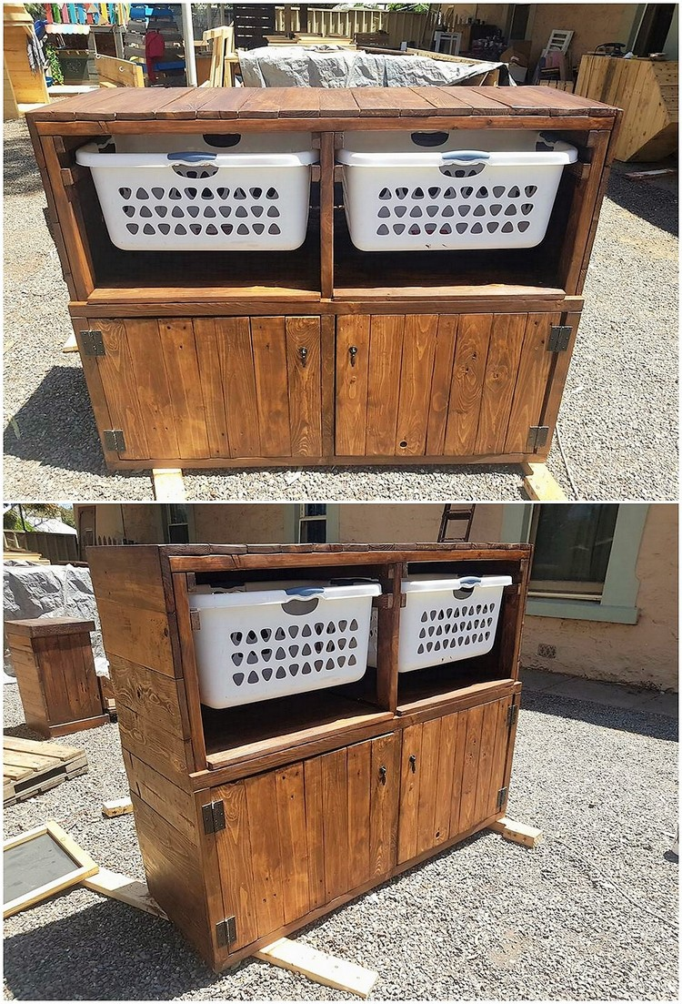 Pallet Laundry Cabinet with Baskets