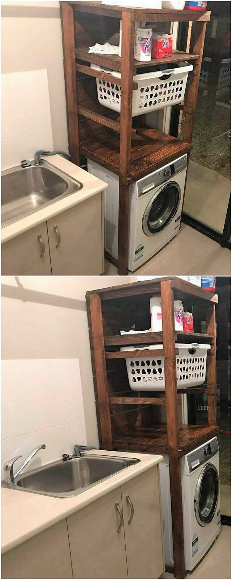 Pallet Laundry Table with Basket