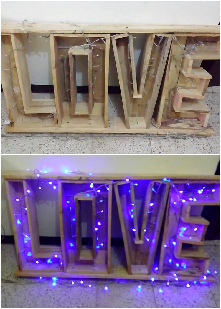 Pallet Love Sign with Lights