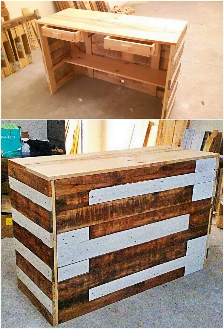Pallet Office Desk Table with Drawers