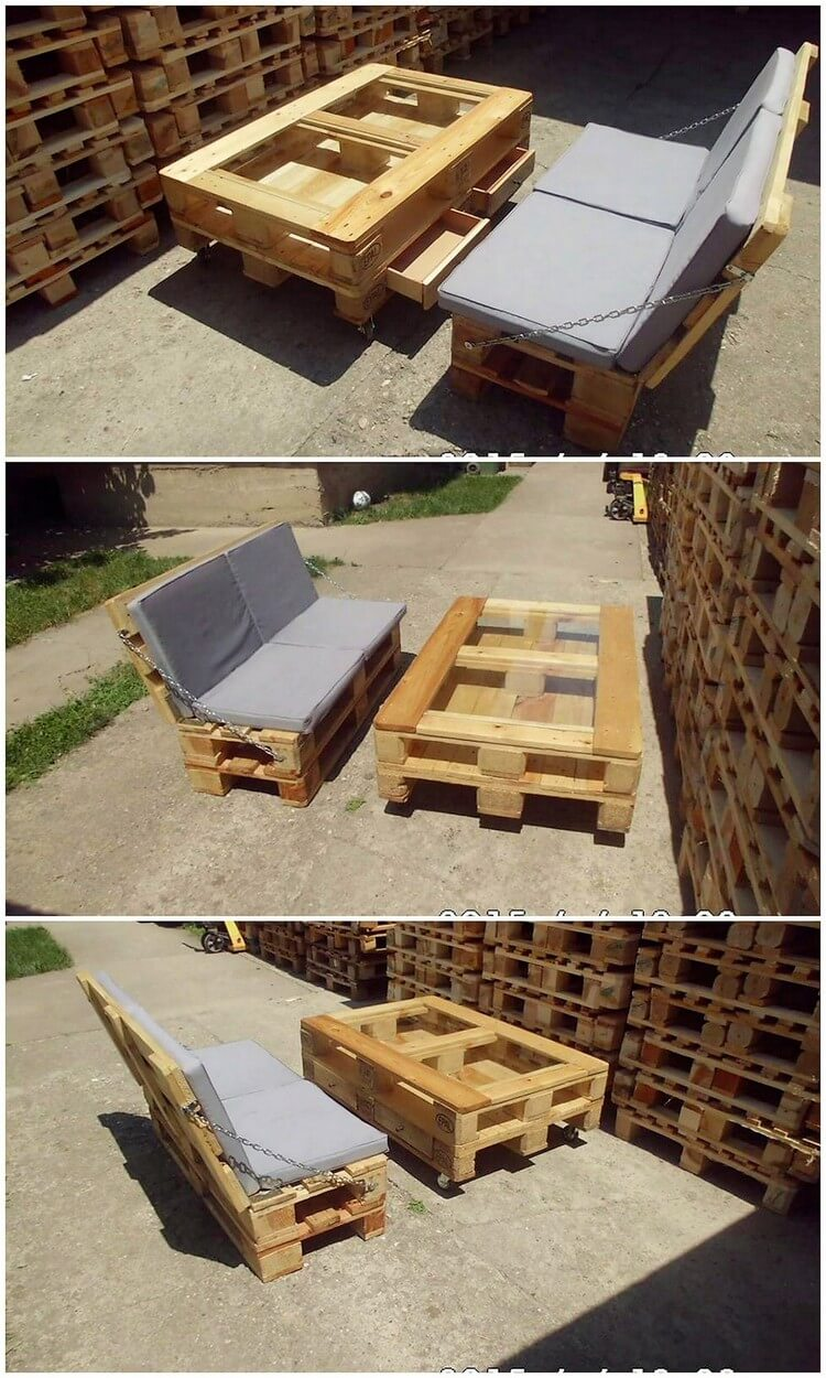 Pallet Patio Couch and Coffee Table