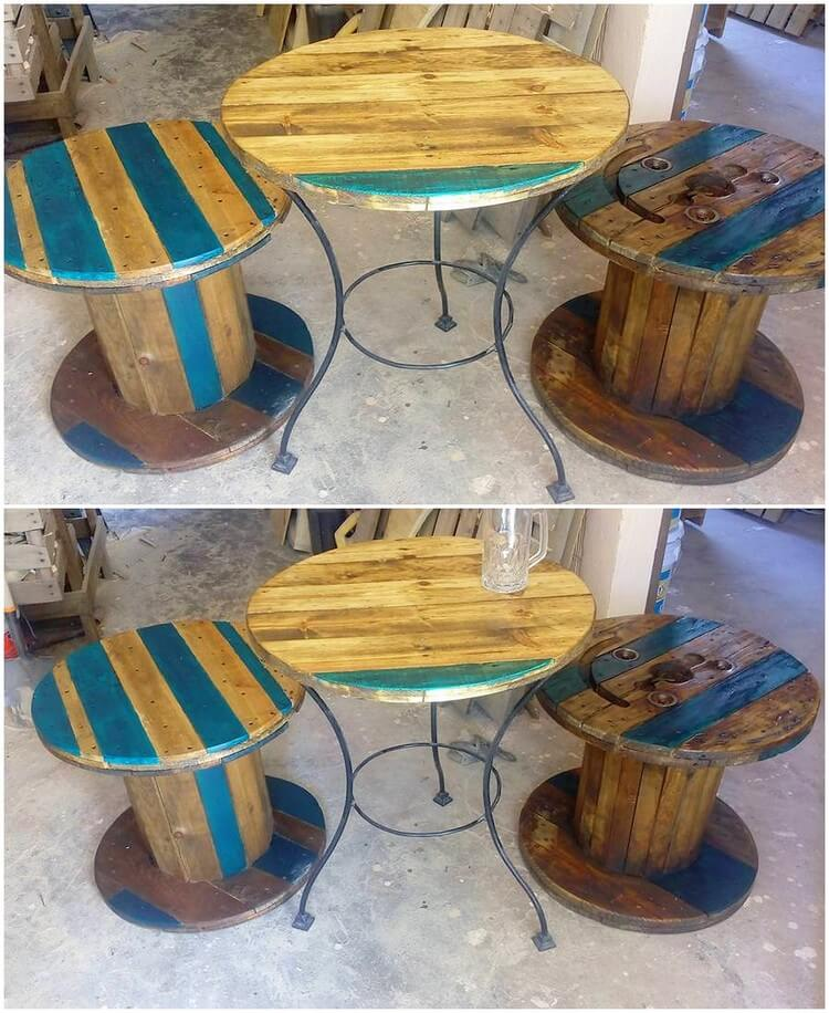 Pallet Round Table and Stools