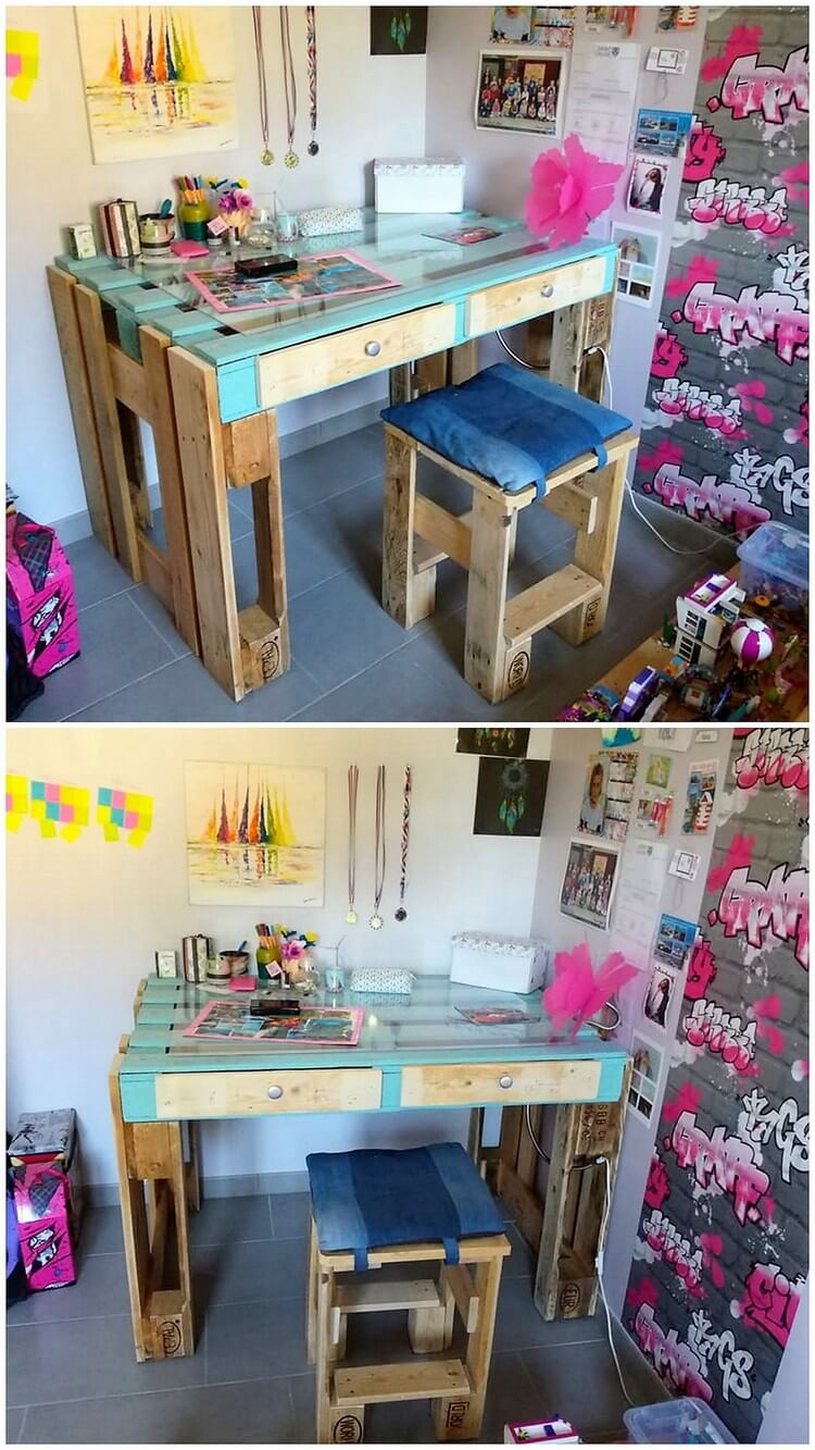 Pallet Study Table and Stool