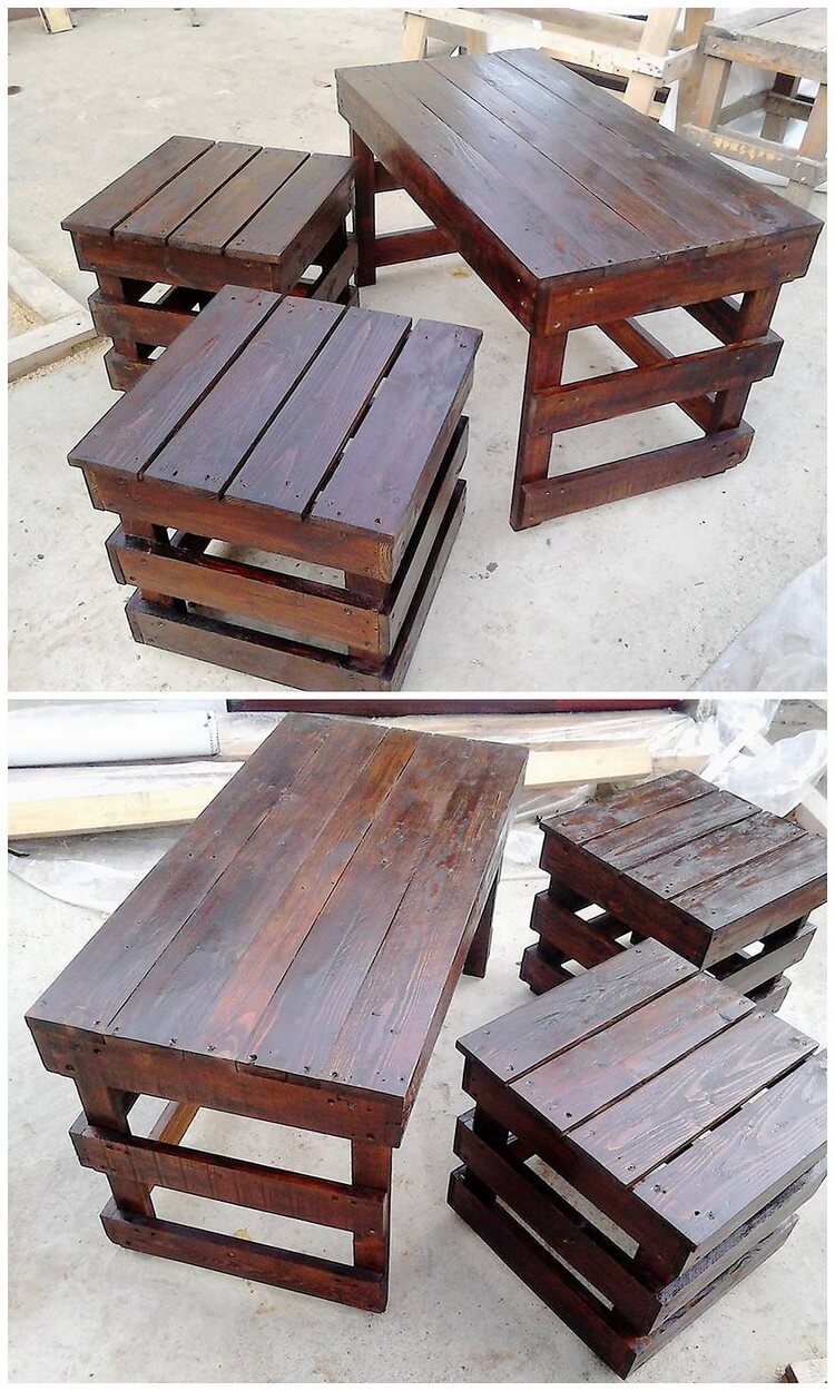 Pallet Table and Stools (2)