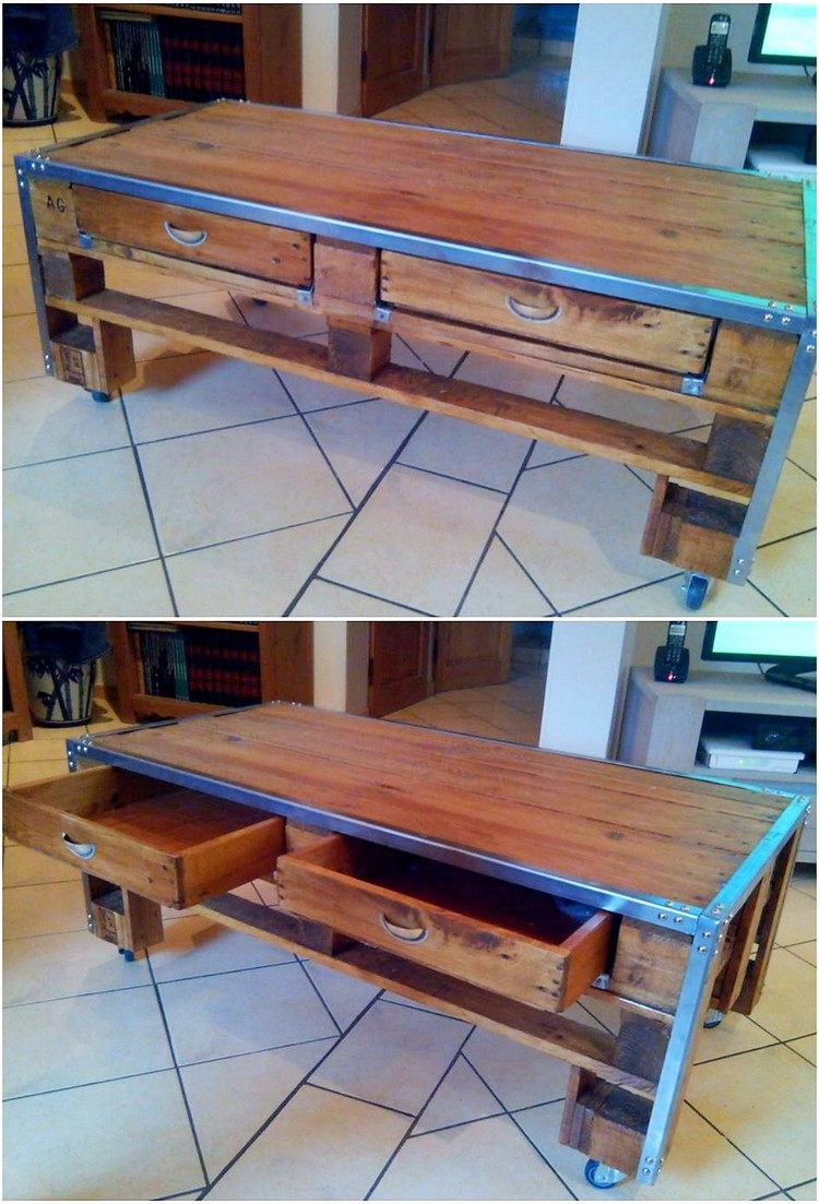 Pallet Table with Drawers (2)