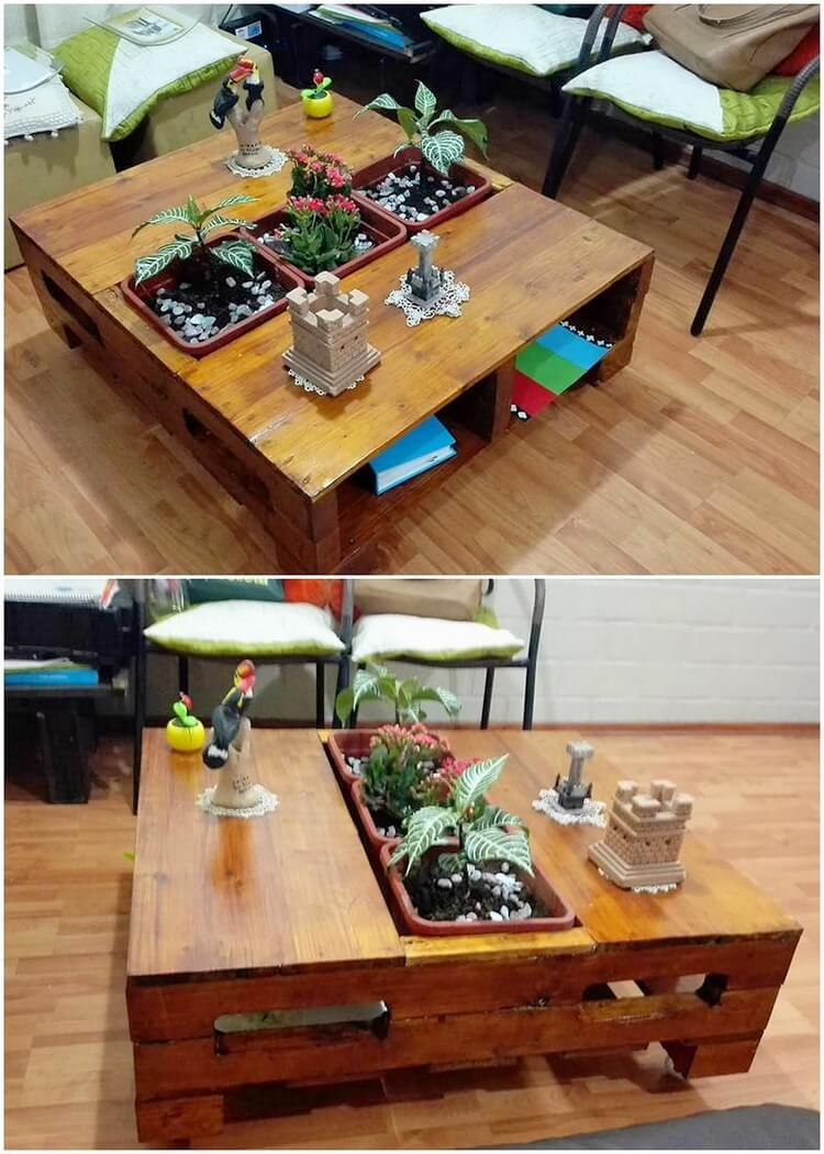 Pallet Table with Planter Pots