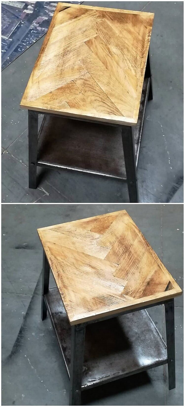 Pallet Table with Steel Feet