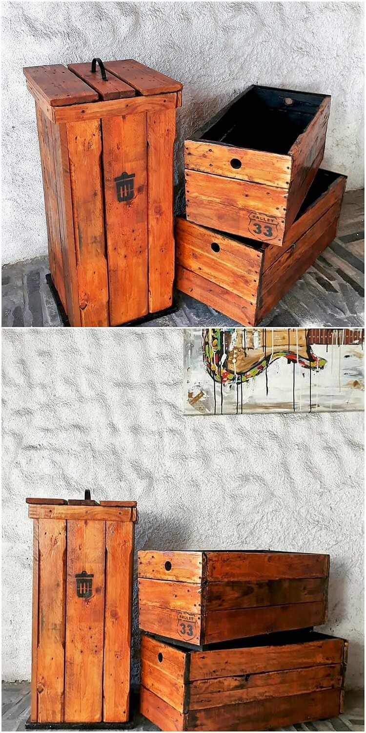 Heart touching creations with old shipping wood pallets for Pallet wood storage box