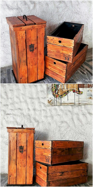 Pallet Trash Bin and Storage Boxes
