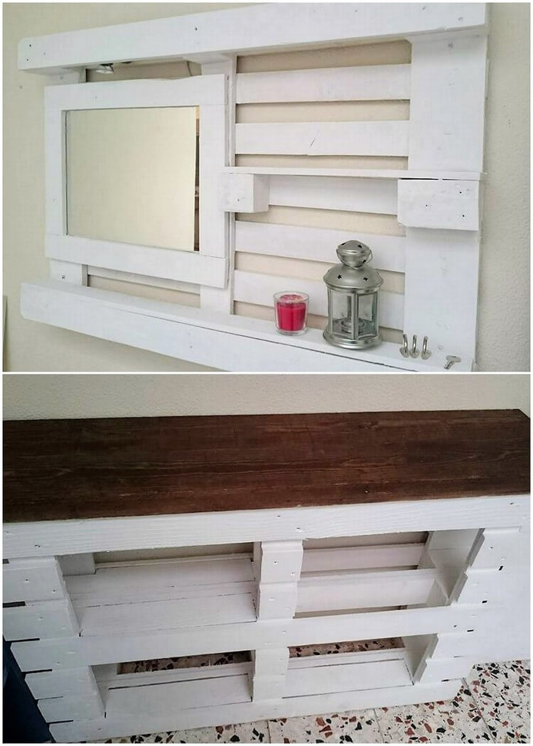 Pallet Wall Mirror Frame with Shelf and Table
