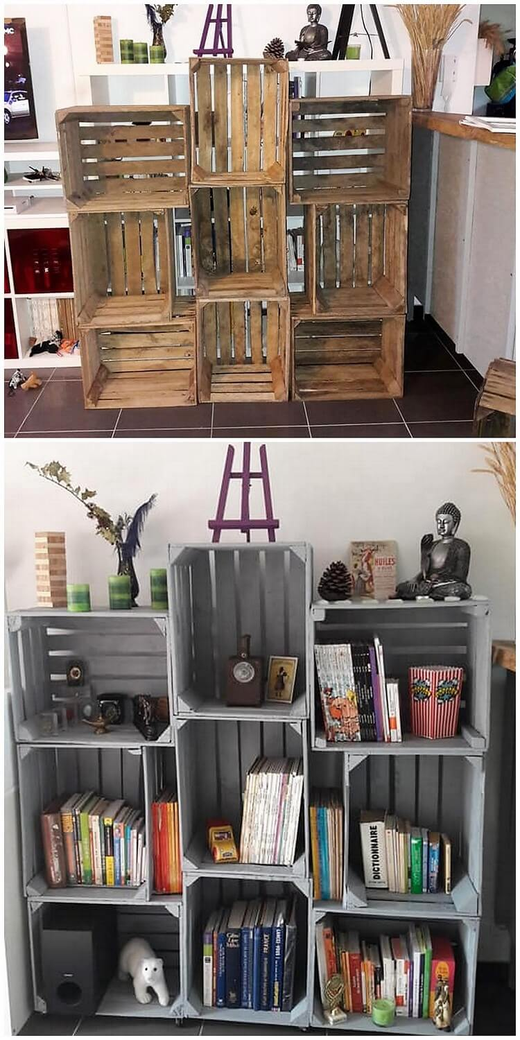 Pallet and Fruit Crates Book Shelving Unit