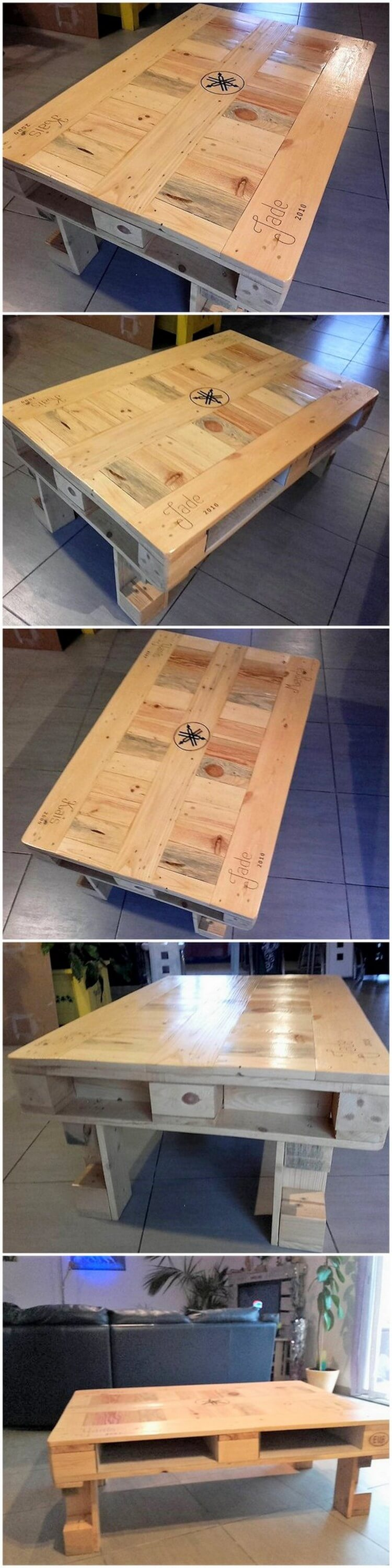 Coffee table made out of wood pallets pallet wood projects for Projects made out of wood