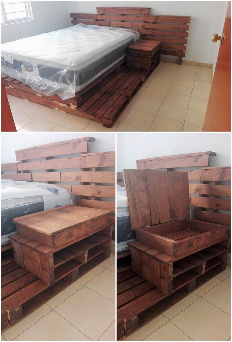 Pallet Bed with Side Storage Table