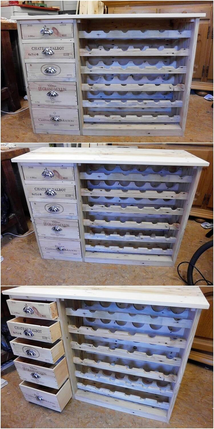Pallet Cabinet with Wine Rack
