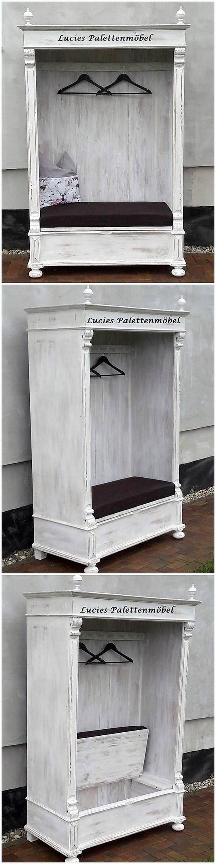 Pallet Closet with Seat
