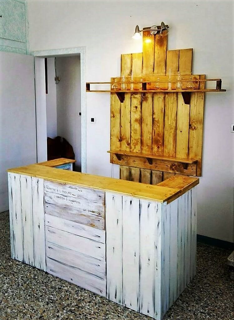 Pallet Counter Table and Wall Shelf