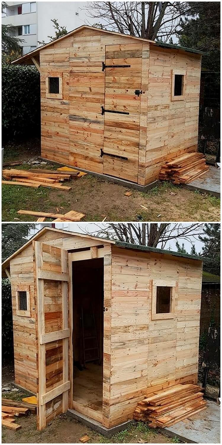 Diy Wood Pallet Garden Shed House Cabin Step By Step
