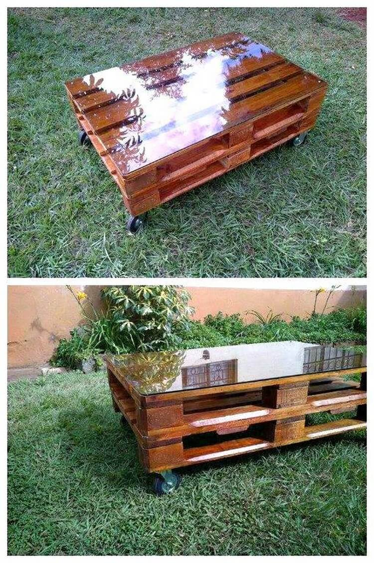 Pallet Glass Top Coffee Table