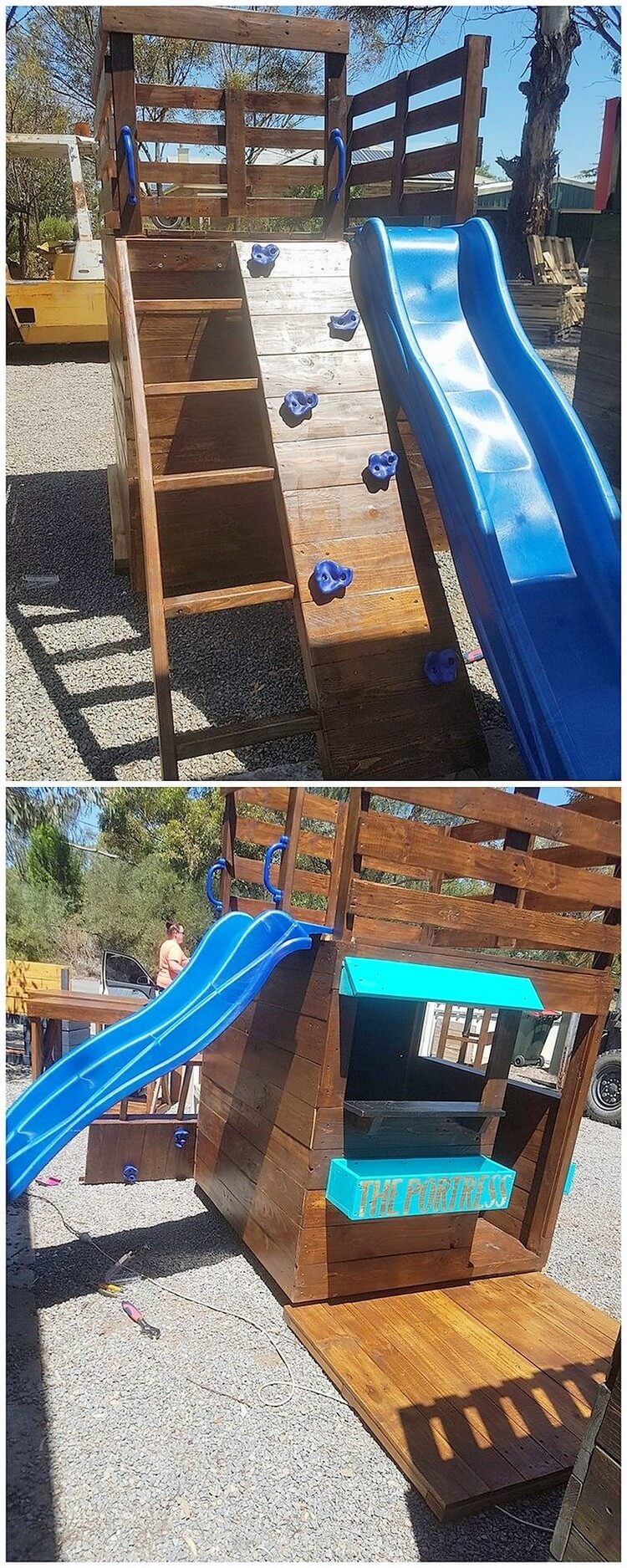 Pallet Kids Playhouse with Slide