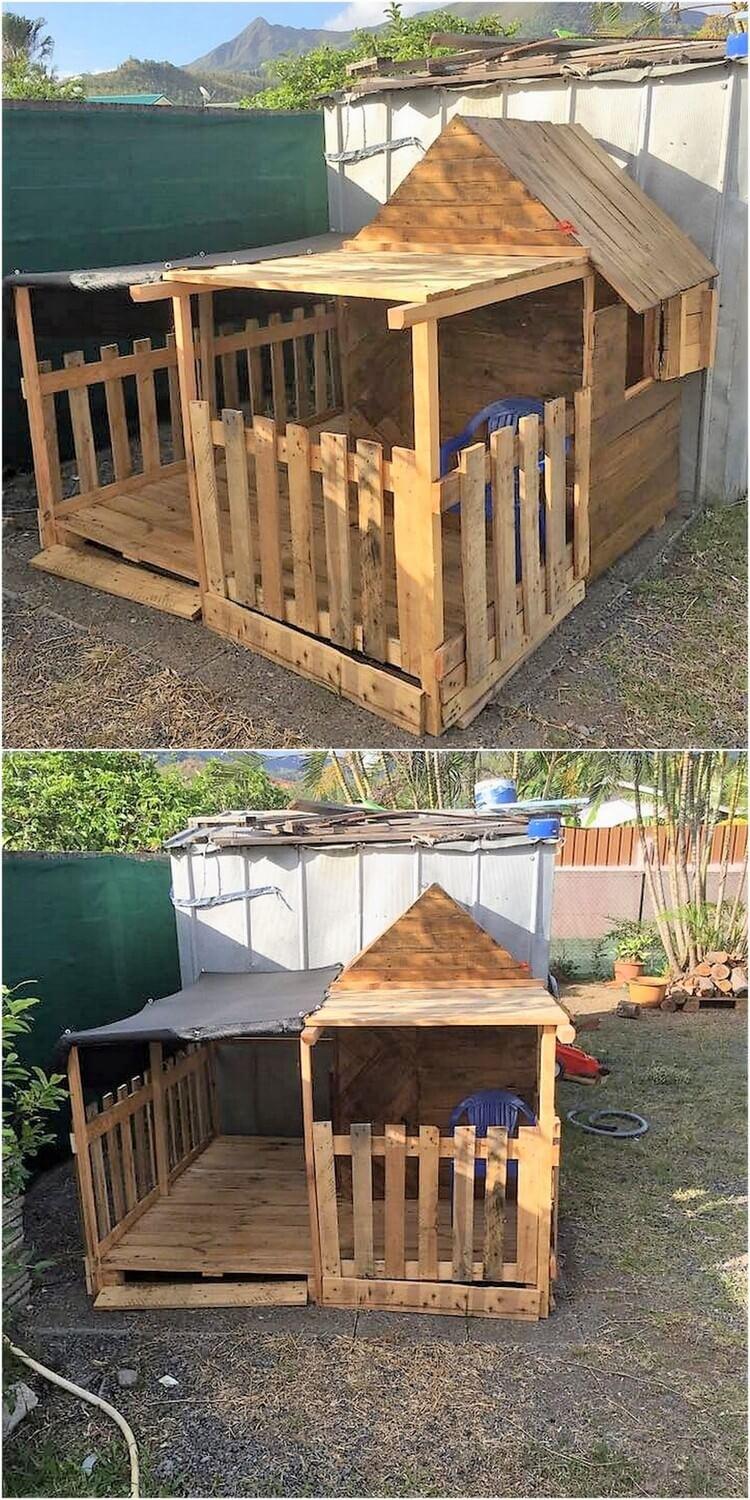 Diy pallet garden playhouse pallet wood projects for How to build a playhouse out of pallets