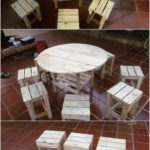 Pallet Round Top Table and Stools