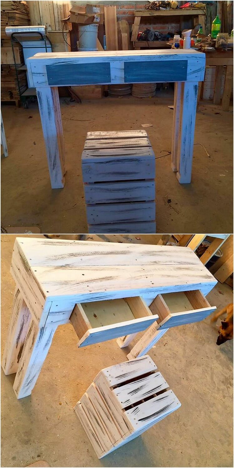 Pallet Table with Drawers and Stool