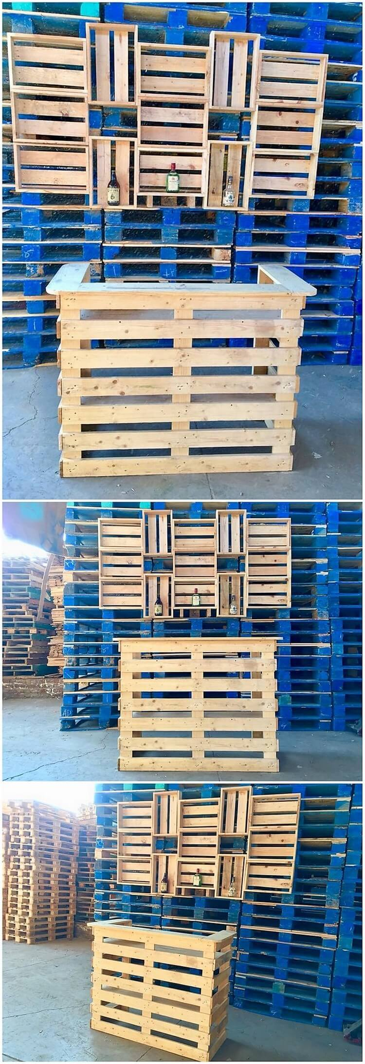 Pallet Wine Bar Counter Table