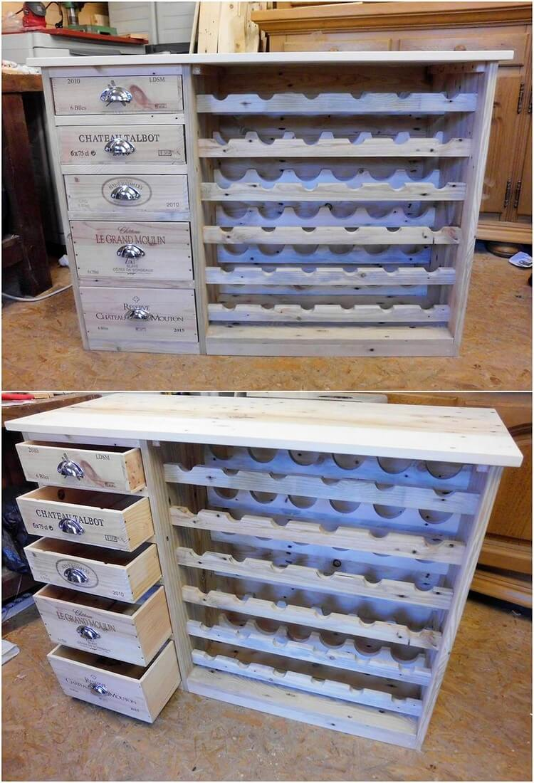 Pallet Wine Rack with Side Drawers