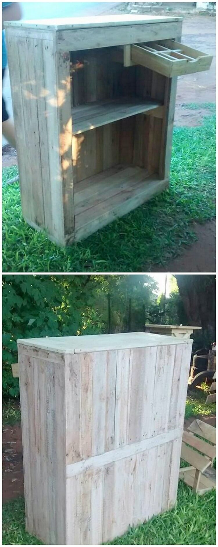 Recycled Pallet Counter with Drawer