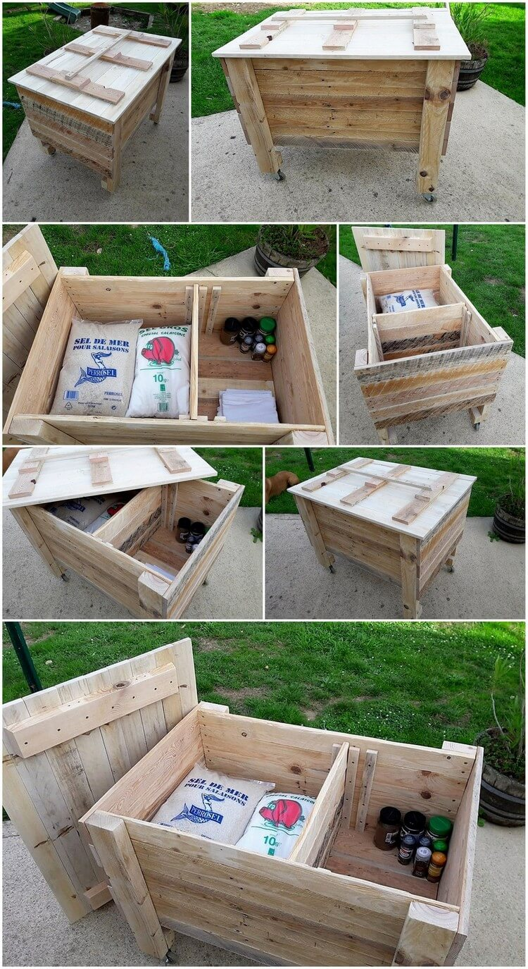 Recycled wood pallets made storage box on wheels pallet for Storage box made from pallets