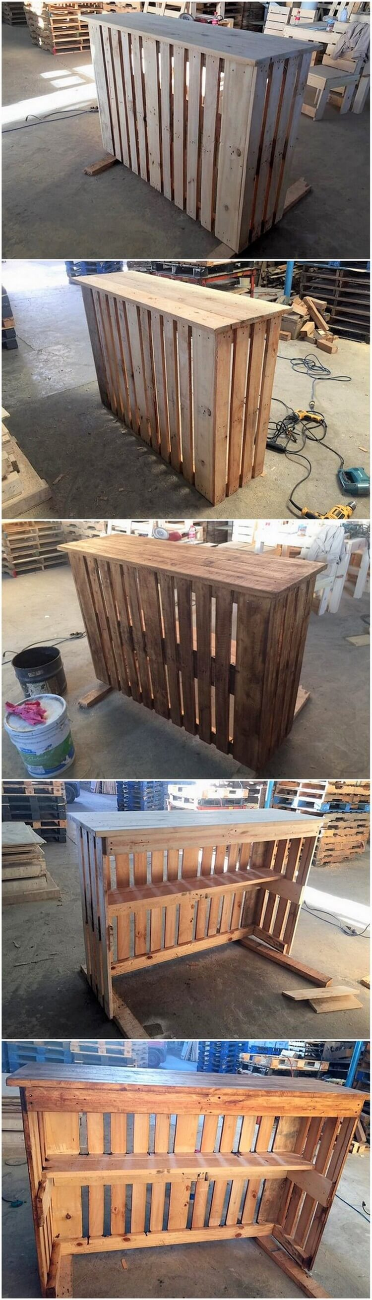Shipping Wooden Pallet Counter Table