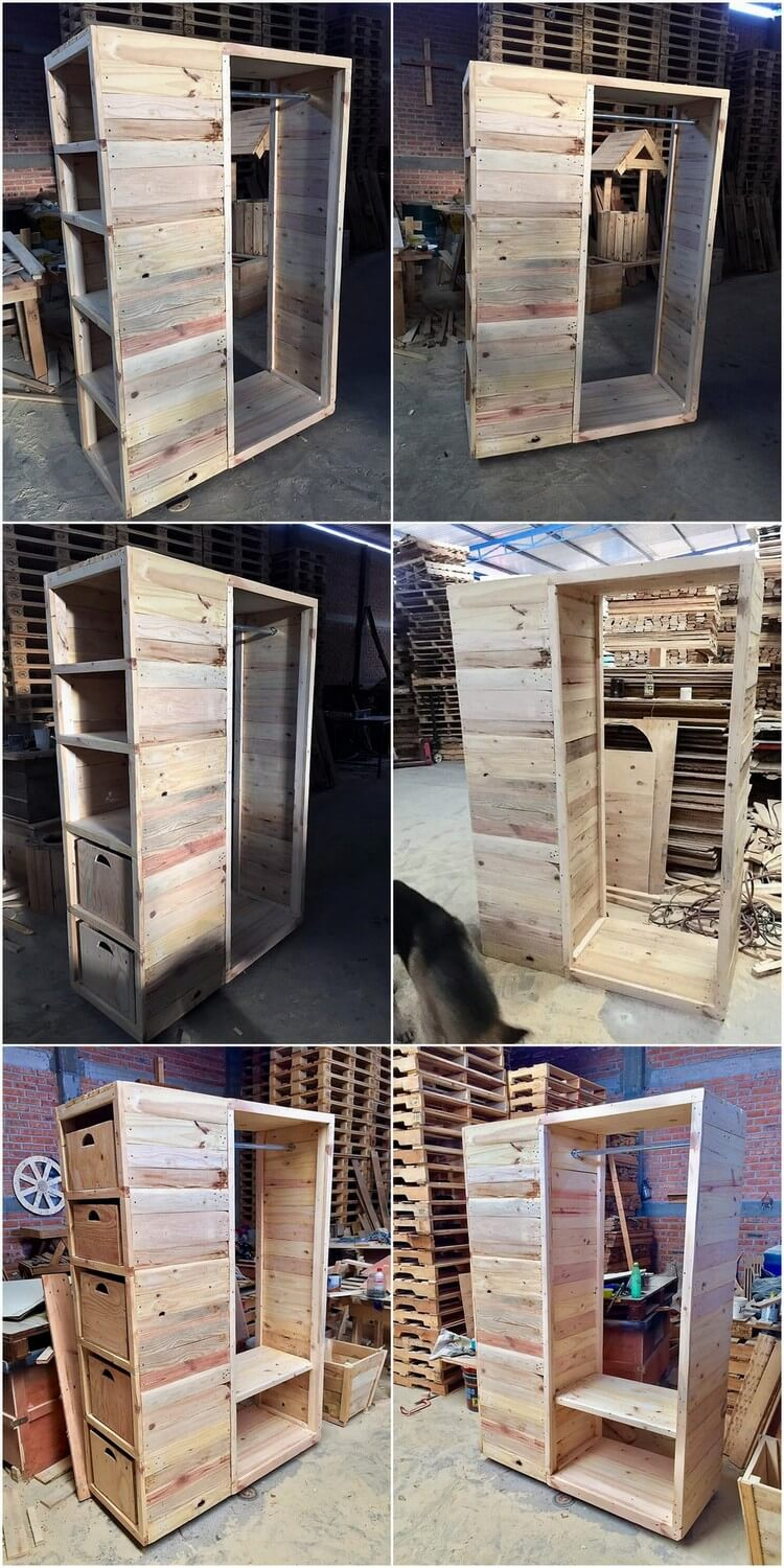 Wood Pallet Closet or Wardrobe with Amazing Look